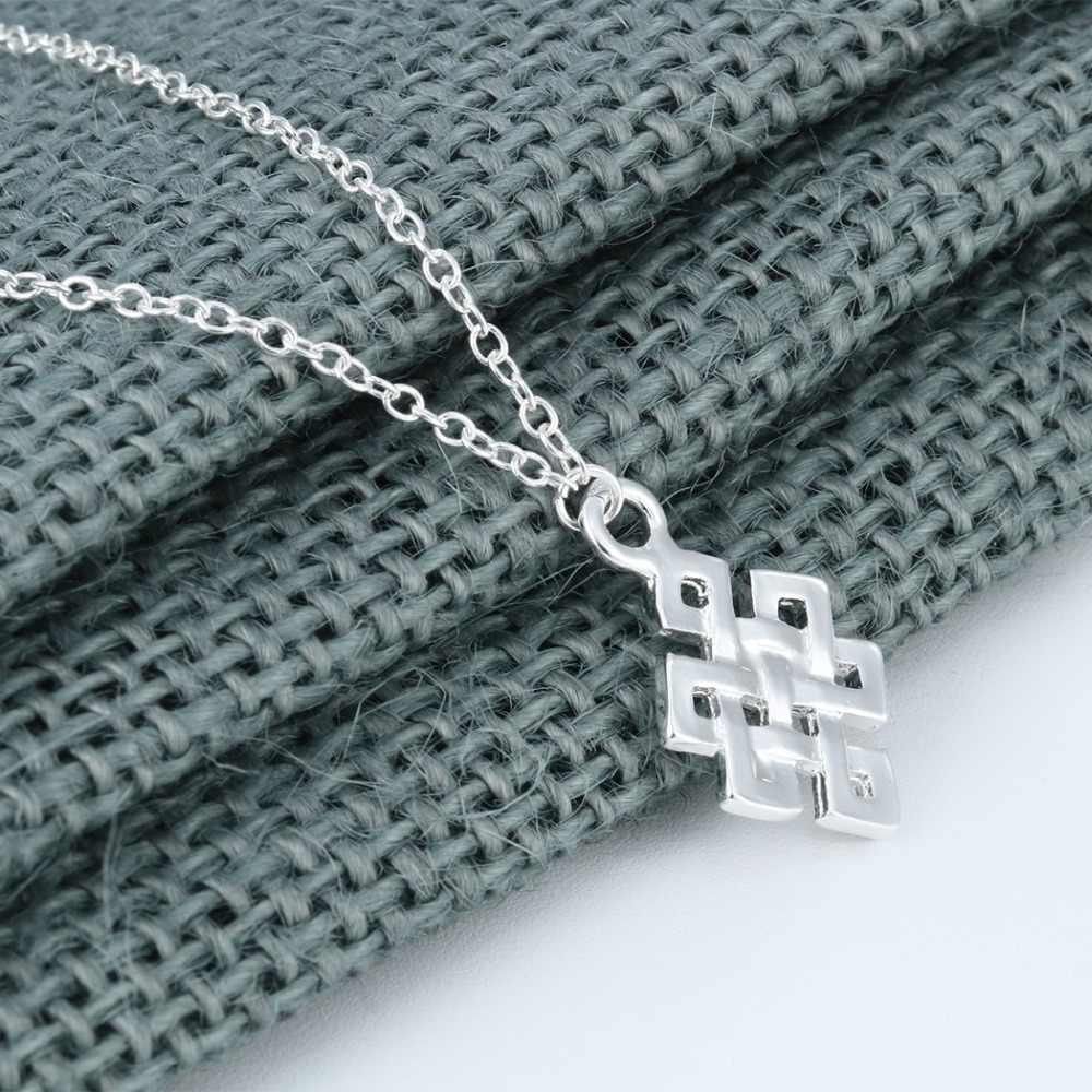 Wieczny niekończący się naszyjnik nieskończoności węzeł kwadrat geometryczny naszyjnik dla kobiet akcesoria dziewczęce biżuteria bożonarodzeniowa