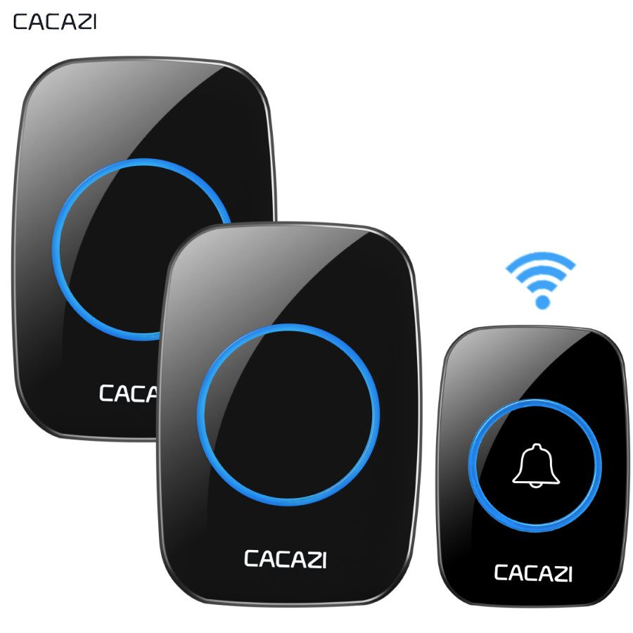CACAZI New Wireless Doorbell Waterproof 300M Remote EU AU UK US Plug smart Door Bell Chime battery 1 2 button 1 2 3 receiver AC kinetic cordless smart home doorbell 2 button and 1 chime battery free button waterproof eu us uk wireless door bell