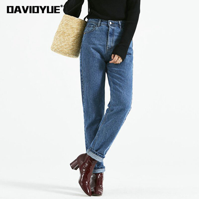 f532457298 2018 moda vintage diseñador pantalones vaqueros de tiro alto Mujer Negro  Azul suelto novio jeans para