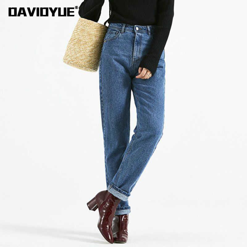 dee773dc8a0 2018 Модные Винтажные дизайнерские джинсы с высокой талией женские черные  синие свободные Джинсы бойфренда для женщин