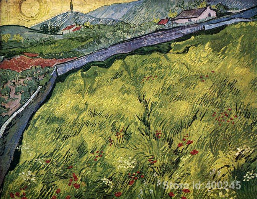 artwork by Vincent Van Gogh The Green Wheat Field Behind the Asylum Oil painting canvas reproduction High quality Hand paintedartwork by Vincent Van Gogh The Green Wheat Field Behind the Asylum Oil painting canvas reproduction High quality Hand painted
