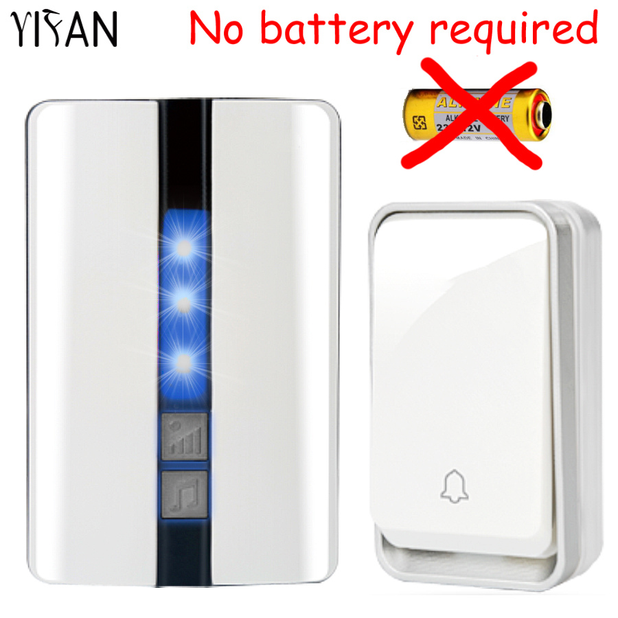 YIFAN New Wireless Door bell Waterproof self powered with no battery EU Plug smart DoorBell 1 2 button 1 2 receiver Deaf old man спот arte lamp lettura арт a5271ap 1cc