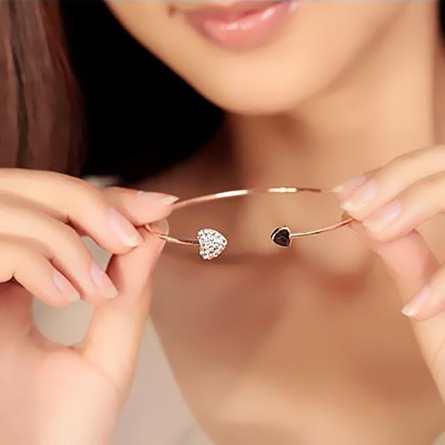 1 pcs Women Girls Fashion Adjustable Double Bracelet  Gold Bangles Cuff Opening bracelet femme Jewelry Gift Mujer Pulseras