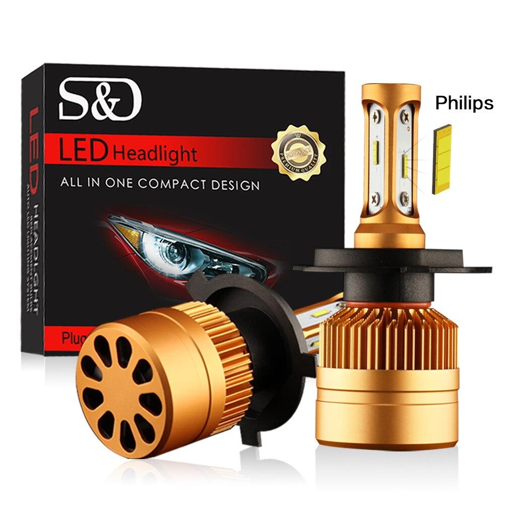 2 piezas H7 LED H1 H4 H3 H11 H8 H9 H27 880 881 9005 9006 HB3 HB4 LED faros bombillas con Philips Chip 12 V luz Auto del coche llevó la lámpara