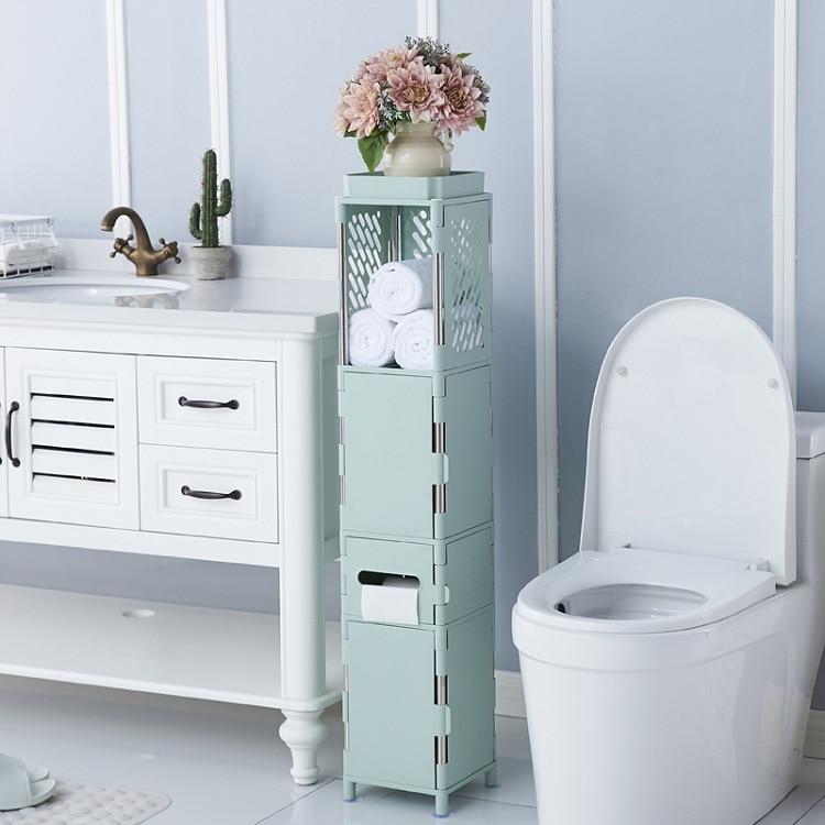 3 Colors Waterproof Toilet Side Cabinet Floor Mounted Plastic Bathroom Storage Rack Bedroom Kitchen Storage Shelf Home Organizer