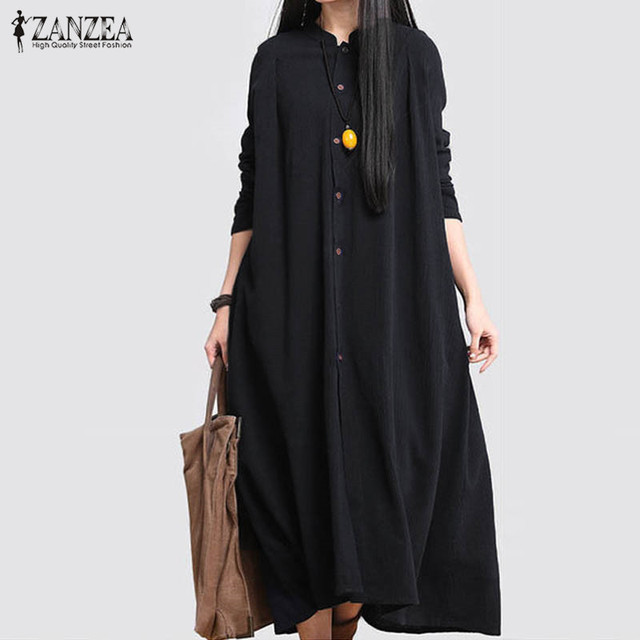 306f4c74fc ZANZEA 2018 Fashion Women Cotton Linen Long Sleeve Shirt Dress Autumn Maxi  Long Baggy Elegant Black Party Vestidos Plus Size New