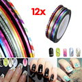 3 Sets of Mixed 12 Farbe Nail Art Tips tape Nagel Zierstreif?en Line Striping Rolls Sticker NEU