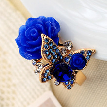 Hot women ring Bohemian style restoring ancient ways alloy set auger butterfly rose