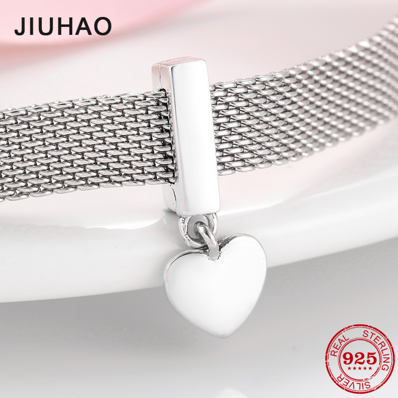 High Quality 925 Sterling Silver Dangle Heart Clips Beads For Jewelry Making Fit Original Reflection Bracelet Clip Charm
