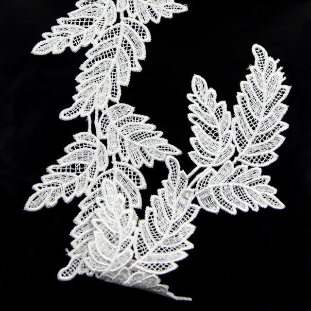 2 Yard White Black Leaves Lace Trim Embroidery Lace Applique Fabric Sewing  DIY Craft Free Shipping