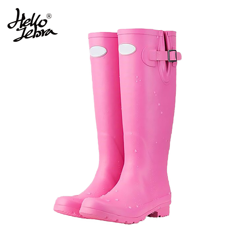 Women Tall Rain Boots Ladies Low Heels Waterproof Welly Boots Solid Buckle High Style Nubuck Rainboots 2016 New Fashion Design women tall rain boots ladies low hoof heels waterproof graffiti buckle high nubuck round toe rainboots 2016 new fashion design