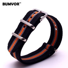 Mans Women 20 mm Strong Multi-color Black Military Army nato fabric Nylon Watches watchband Woven Straps Bands Buckle belt 20mm