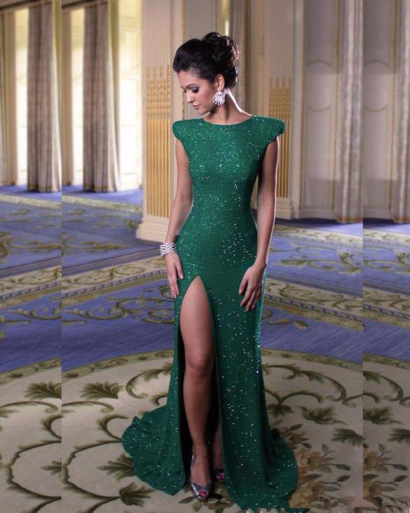 US $12.12 Robe De Soiree Mode Dunkelgrün Pailletten Abendkleider Lang  Mermaid Split Bodenlangen Abendkleid Abendkleider X 12dress evening