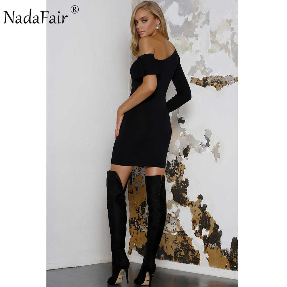 Nadafair 95% Хлопок Slash шеи длинный рукав и один оборками рукав сексуальный клубный бодикон Платье женское черное платье для вечеринки