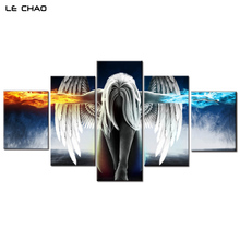 ФОТО Canvas Painting for Living Room or Bedroom Wall To Wall Pictures Angel Girl Wings Modular Pictures Canvas Art Drop