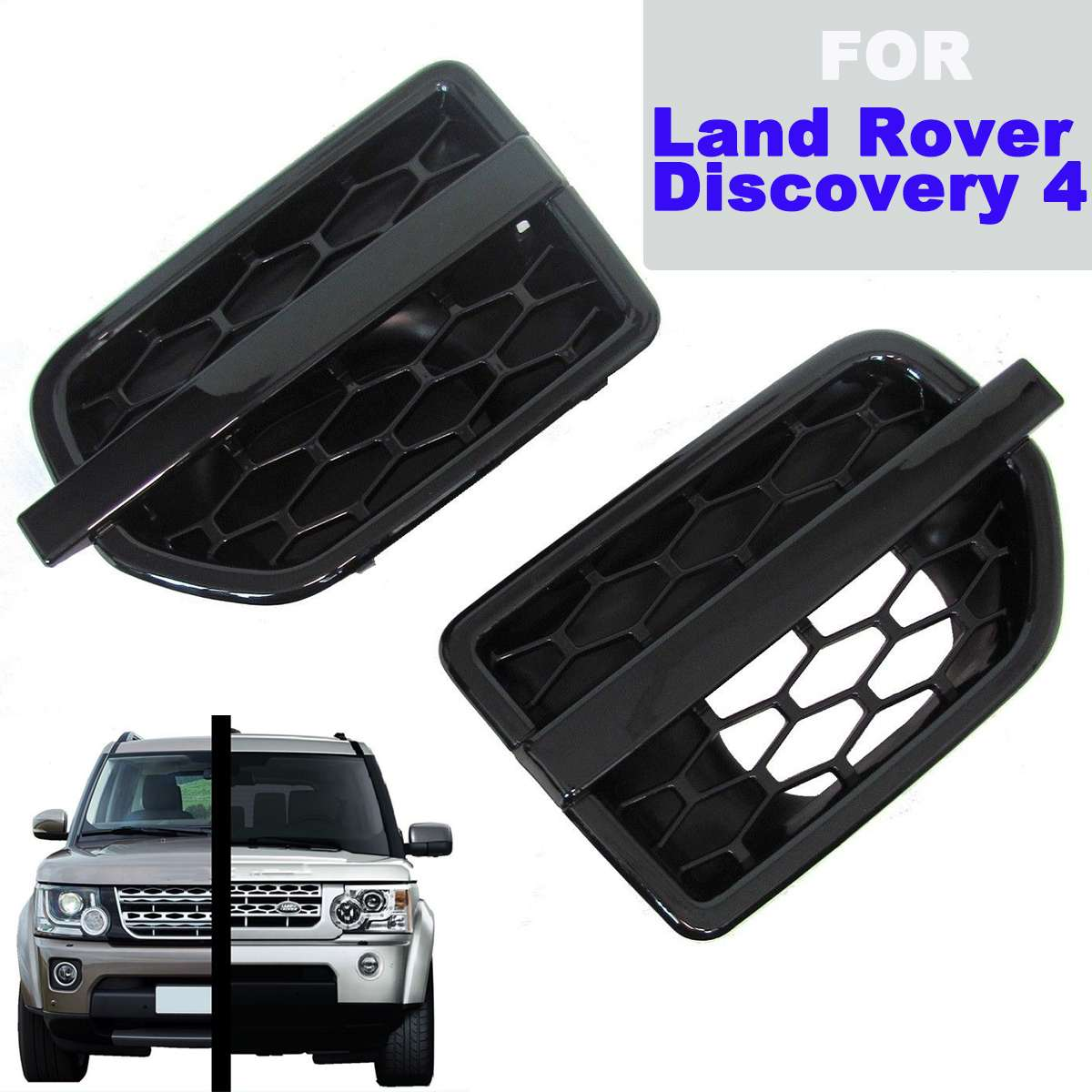 1 Set Air Side Vents Front Wing Intake Grille for Land Rover for Discovery 4 LR4 Car Styling ABS Gloss Black Front Grilles1 Set Air Side Vents Front Wing Intake Grille for Land Rover for Discovery 4 LR4 Car Styling ABS Gloss Black Front Grilles