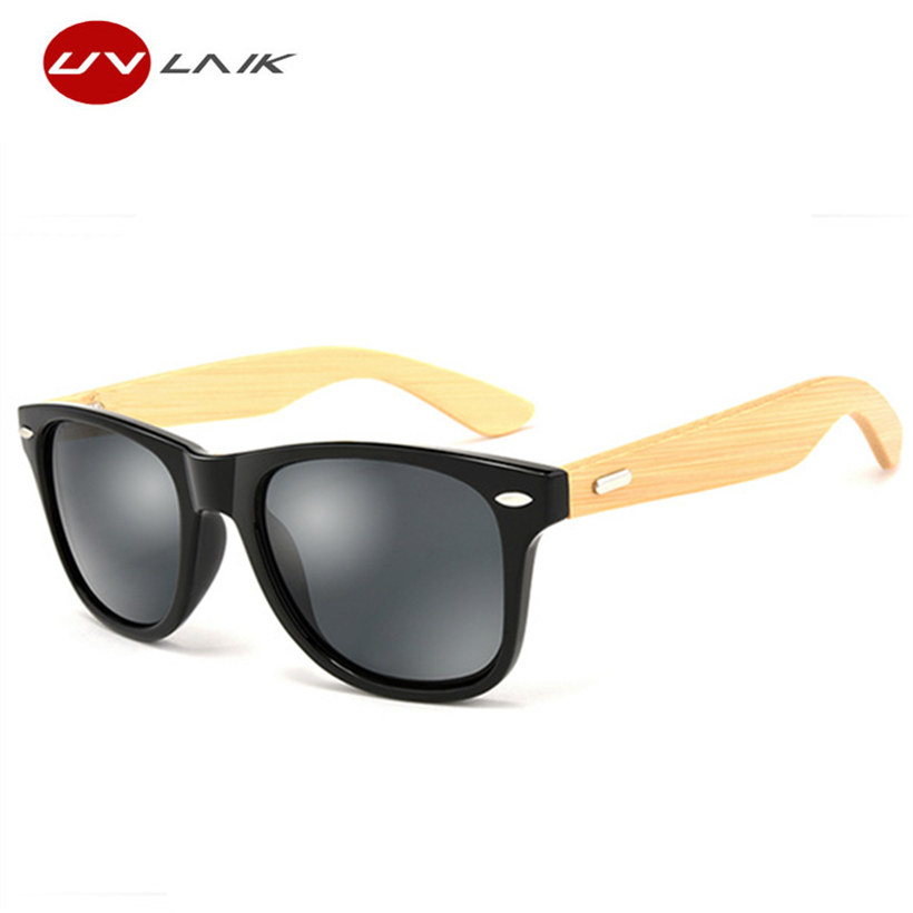 UVLAIK Kayu Sunglasses Retro Buluh Vintage Sun Glasses Designer Brand Sunglass Wood Men Women Goggles