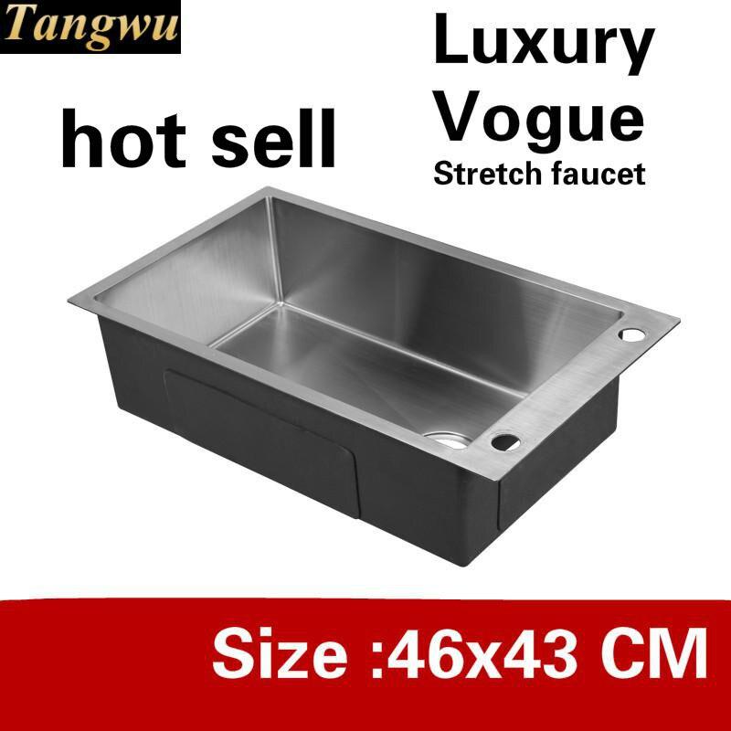 Livraison gratuite appartement cuisine manuel évier simple creux stretch robinet lavage légumes 304 acier inoxydable vente chaude 460x430 MM