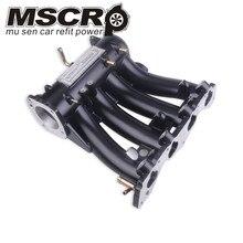 De aluminio negro/plata colector de admisión para 1988 2000 Honda CRX Del Sol SOHC de la serie D CX DX EX GX