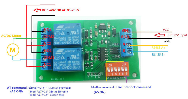 ce035 dc 12v 2 ch rs485 relay board uart serial port switch module rh aliexpress com wiring relay board connecting relay board to raspberry pi