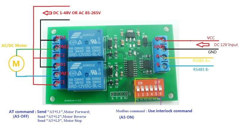 DC 12 V 2 Ch RS485 Relaiskarte UART Seriellen port Switch modul ...