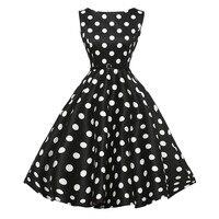 נשים מסיבת רטרו Vintage Dress 2018 חדש קיץ ללא שרוולים מקרית שמלות נשף Swing # שחור לבן דוט שמלה עם חגורה L
