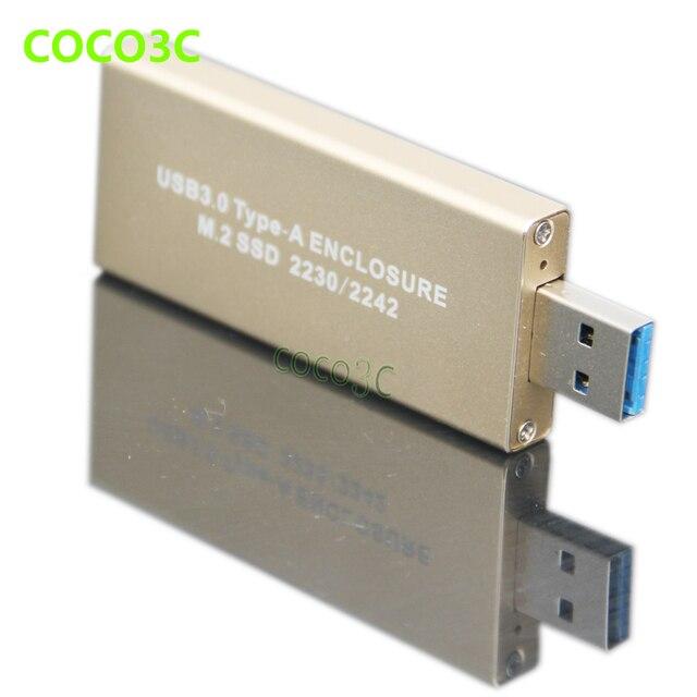 USB 3.0 para USB3.0 para NGFF M.2 SSD SATA Gabinete B chave B + M Chave adaptador M2 Caixa Móvel para Transcender MTS400 PLEXTOR PX-128M6G-2242