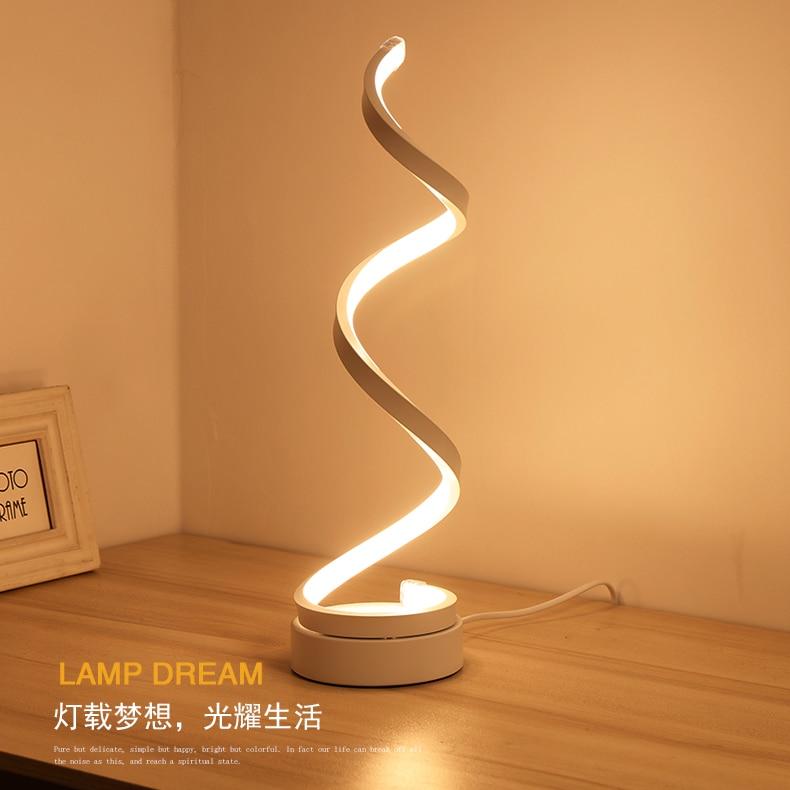 Creative Design Spirale Moderne Acrylique Table Lampes D'éclairage pour le Mariage Décoratif LED Lampe De Bureau Livre lumière De Luxe 24 w