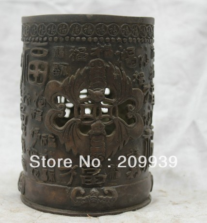 00818 Chinese Tibet Tibetan Buddhism Temple Bronze Statue Happiness Blessing Pen Case (A0314)