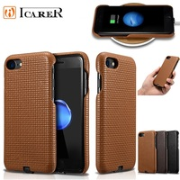 ICARER Woven Pattern Back Case For iPhone7 8 Genuine Leather Protective Phone Case For iPhone7Plus 8Plus With Charging Connector