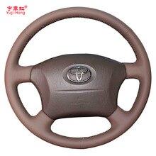 Yuji-Hong Чехлы рулевого колеса автомобиля чехол для Toyota Prado 2004-2006 Land Cruiser 2006 LC120 сшитый вручную верхний слой из коровьей кожи