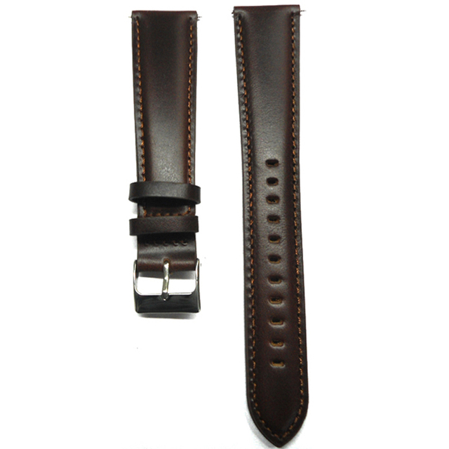 454722b9193 Watch strap 22mm Watch Band Italy Oil Calf Genuine Leather watchband Dark  Brown Lengthening With Stainless Steel Buckle for hour