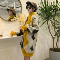2018 Women Pullovers And Sweaters Patchwork Clothes Kawaii Winter Tops Long Sweater Women xmas sweater