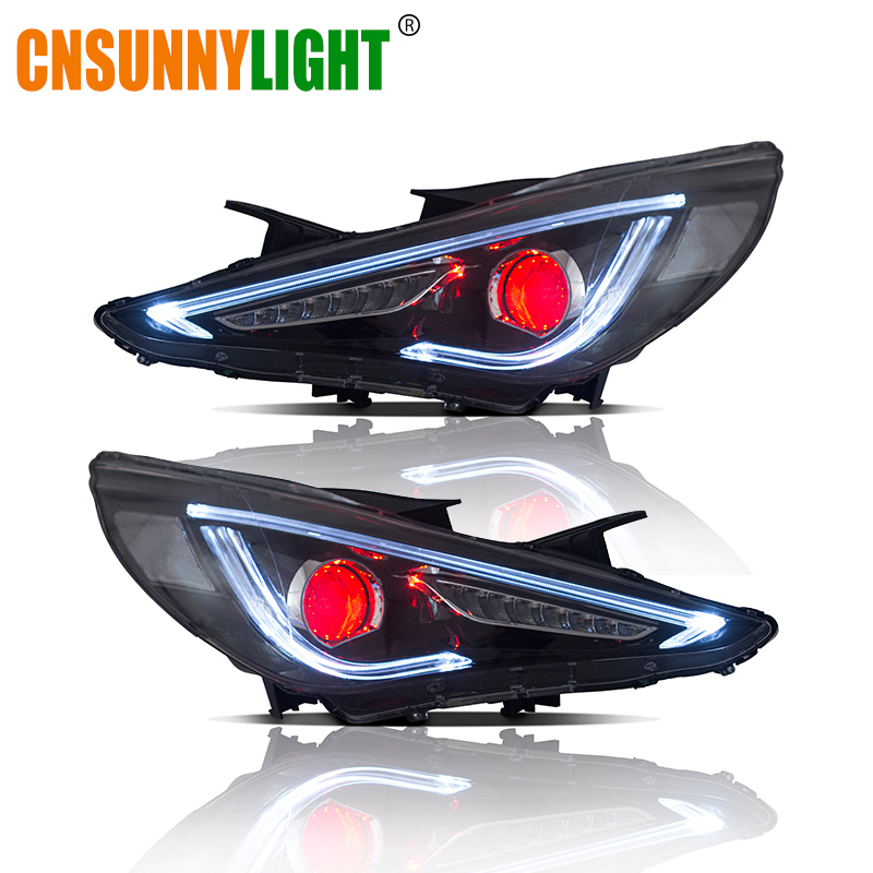 Us 588 41 20 Off Cnsunnylight For Hyundai Sonata 2011 2012 2013 2014 Car Headlights Assembly W Led Demon Eyes Drl Turn Signal Lights Plug Play In