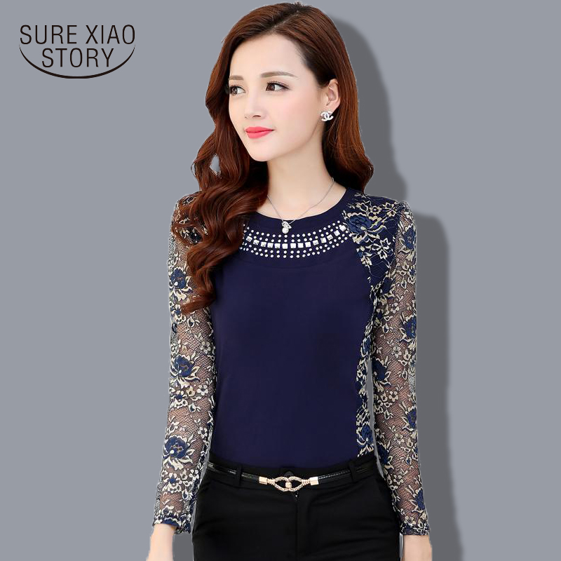 2015 Autumn Slim Patchwork ladies Plus size lace blouse shirt Women long sleeve Lace Tops Women clothing 901G 40