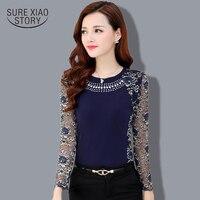 2015 Autumn Slim Patchwork Ladies Plus Size Lace Blouse Shirt Women Long Sleeve Lace Tops Women
