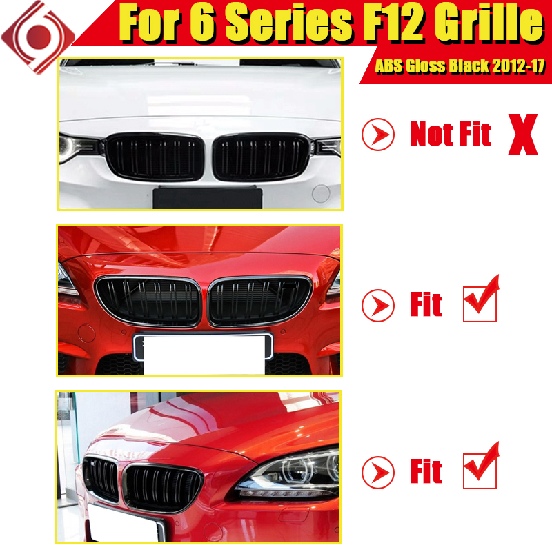 1 Pair ABS Gloss Black Front Kidney Grille Grill For M6 F12 640i 650iGC Double Slats Front Kidney Grille Auto Car styling 12 17 in Racing Grills from Automobiles Motorcycles