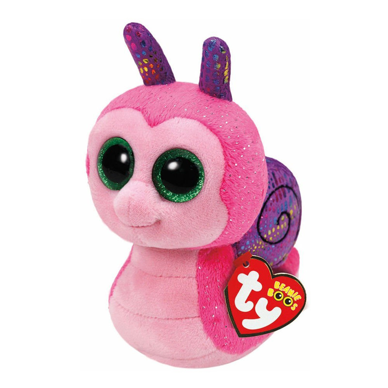 6'' 15cm Ty Beanie Boos Original Big Eyes Scooter Plush Toy Doll Child Brithday Pink Snail TY Baby For Kids Gifts S134 ty collection beanie boos kids plush toys big eyes slick brown fox lovely children gifts kawaii stuffed animals dolls cute toys