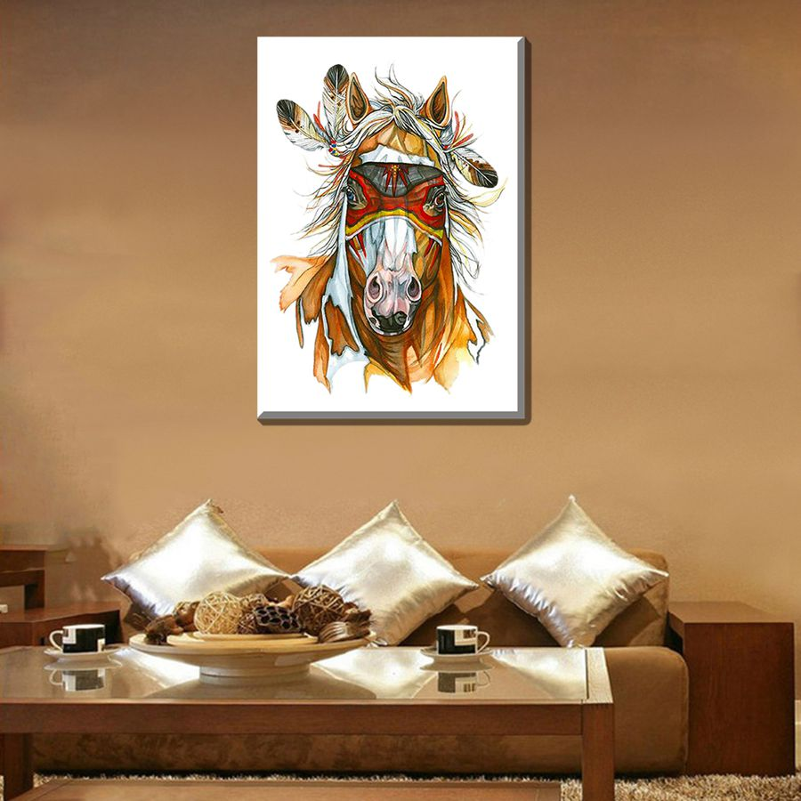 Indian Horse Watercolor Painting Print High Quality Artwork Beautiful  Animal Wall Art For Bedroom Office Home Decor Frameless In Painting U0026  Calligraphy From ...