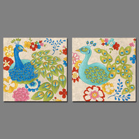 Modern Art Animal Birds Peacock Picture Decoration Canvas Painting Flower Pattern Wall Art For Kids Children