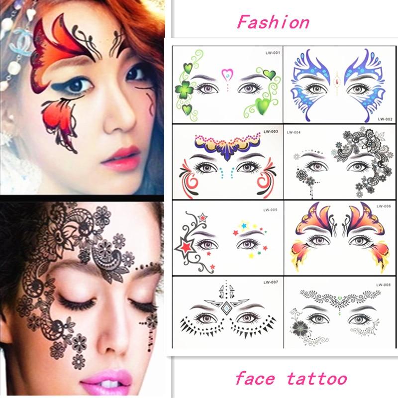 Krasivyy Face Temporary Tattoo Stickers Jewelry Arab India's Large Tattoos Eyes Masquerade Flash Tattoo Paste Makeup Girl Tattoo