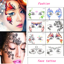Krasivyy Face temporary tattoo stickers jewelry Arab India's large tattoos eyes Masquerade flash tattoo paste makeup girl tattoo все цены