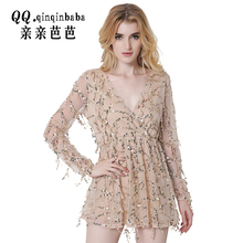 2017 Women Long Sleeve Vintage Dress Apparel Sexy off Shoulder Sequin Tassel Summer Beach Party Mini Club Wear Dress Size Xxl
