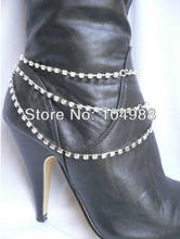HOT BY-140 WOMEN LOVED SILVER CHAIN BOOT STRAP 3 ROWS RHINESTONES STRANDS HEELS BOOTS CHAIMING ANKLE CHAIN NECKLACE JAEWELRY(China)