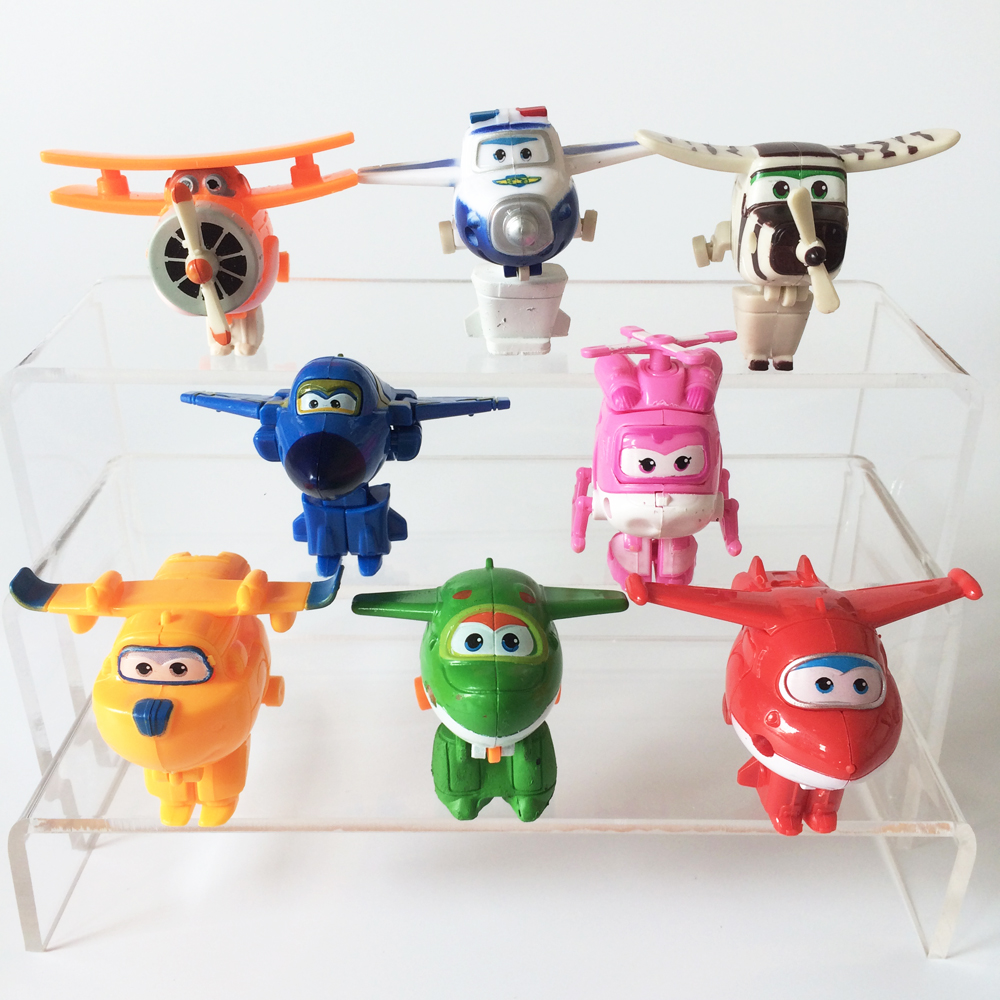8pcs/lot Super Wings Mini Airplane Robot Toy For Children