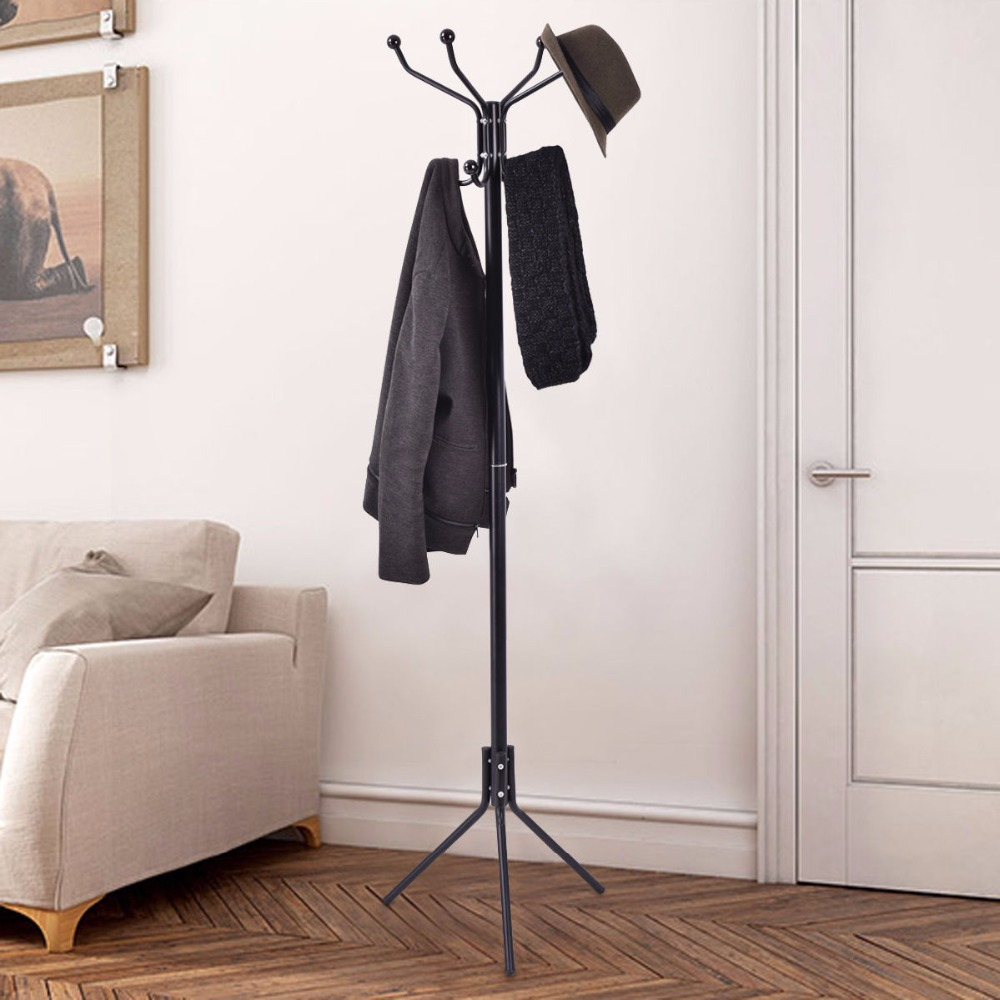 Giantex Black 68 Metal Coat Stand Hanger Storage Garment Rack Coat Tree Holder Hat Hook Clothes Floor Bedroom Hanger HW54003 5pcs set colorful hanger floor bag wall hanger wood dots hook rack hook the dots coat hooks clothes hanger rack hanger