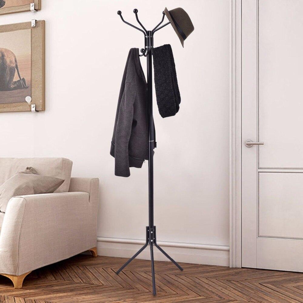 Giantex Black 68 Metal Coat Stand Hanger Storage Garment Rack Coat Tree Holder Hat Hook Clothes Floor Bedroom Hanger HW54003