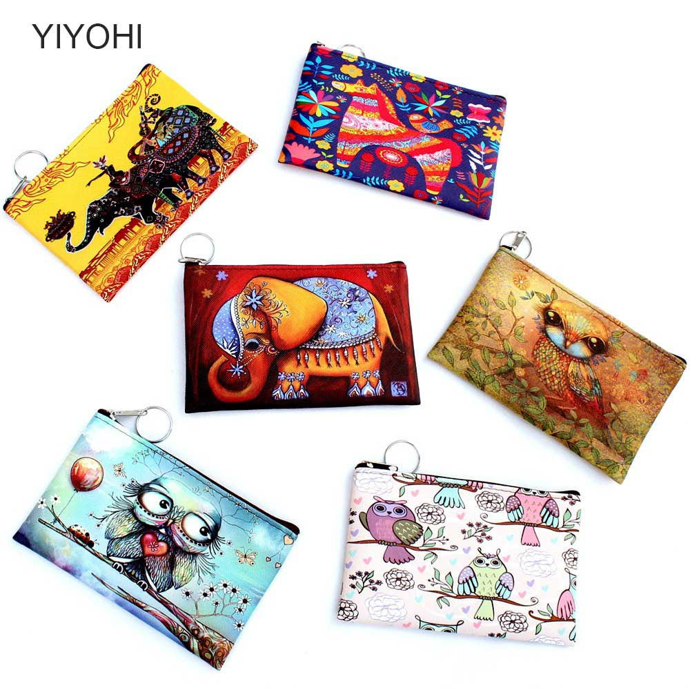 Owl Elephant giraffes Print coin purse Female Zipper coins bag wallet pouch Ladies clutch change purse Women cartoon zero wallet aelicy women wallet printing coins change girls purse clutch zipper zero phone key bags dropship new 2018 hot carteira feminina