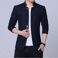 Mens Chinese Style Stand Collar Blazer Men Casual Stage Jacket Men's Slim Fit Blazer Jacket Black Blue Gray Plus Size 4XL 5XL