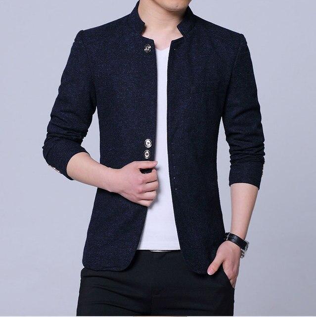 Mens הסיני סגנון צווארון עומד בלייזר גברים מקרית מעיל שלב גברים של Slim Fit בלייזר מעיל שחור כחול אפור בתוספת גודל 4XL 5XL